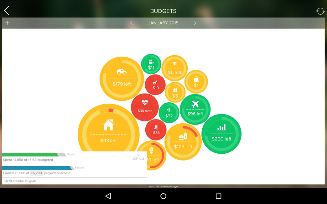 Bubble Budgets widget from Touch App